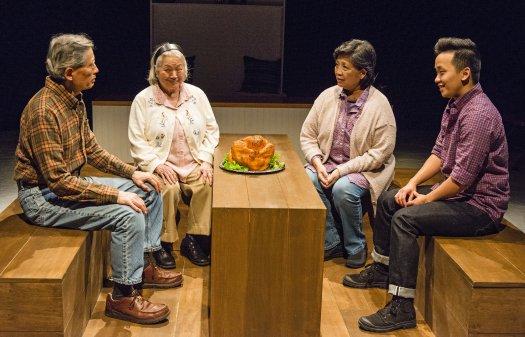 "Glenn Kubota, Virginia Wing, Mia Katigbak and Bex Kwan in a scene from ""Sagittarius Ponderosa"" (Photo credit: William P. Steele)"