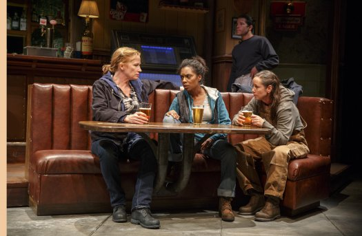 "Johanna Day, Michelle Wilson and Miriam Shor in a scene from Lynn Nottage's ""Sweat"" (Photo credit: Joan Marcus)"