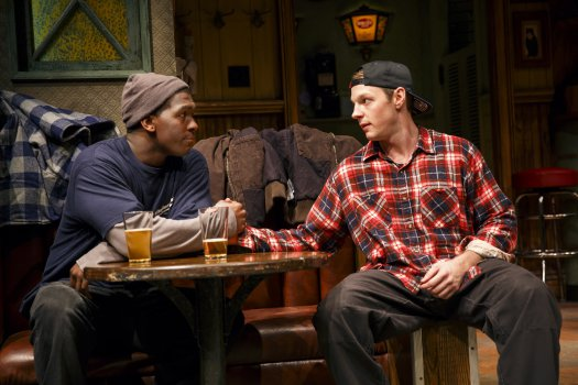 "Khris Davis and Will Pullen in a scene from Lynn Nottage's ""Sweat"" (Photo credit: Joan Marcus)"