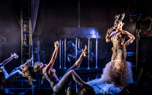 """Marcy Richardson as Athena singing in a scene from Company XIV's """"Paris"""" (Photo credit: Mark Shelby Perry)"""