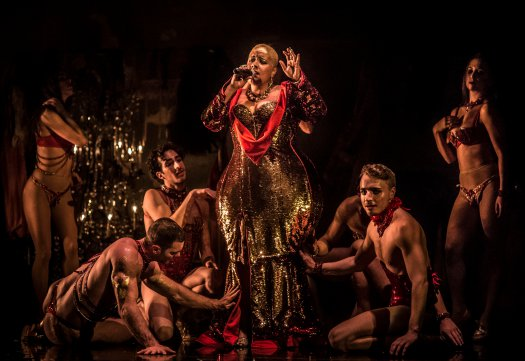 """Storm Marrero as Venus in a scene from Company XIV's """"Paris"""" (Photo credit: Mark Shelby Perry)"""