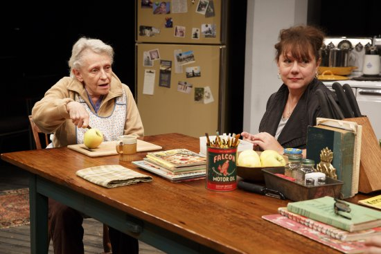 """Roberta Maxwell and Amy Warren in Richard Nelson's """"Women of a Certain Age,"""" Play 3 of""""The Gabriels: Election Year in the Life of One Family"""" (Photo credit: Joan Marcus)"""