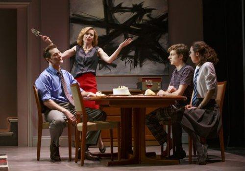 "Richard Armitage, Amy Ryan, Ben Rosenfield and Zoe Kazan in a scene from Miek Bartlett's ""Love, Love, Love"" (Photo credit: Joan Marcus)"