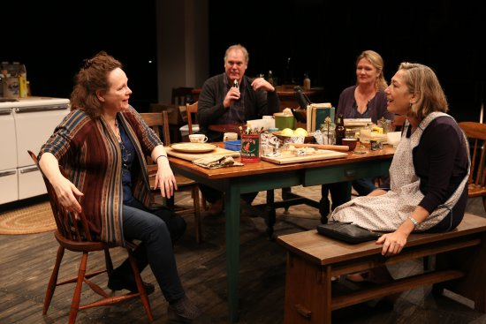 """Maryann Plunkett, Jay O. Sanders, Amy Warren and Meg Gibson in a scene from Richard Nelson's """"Women of a Certain Age,"""" Play 3 of """"The Gabriels: Election Year in the Life of One Family"""" (Photo credit: Joan Marcus)"""