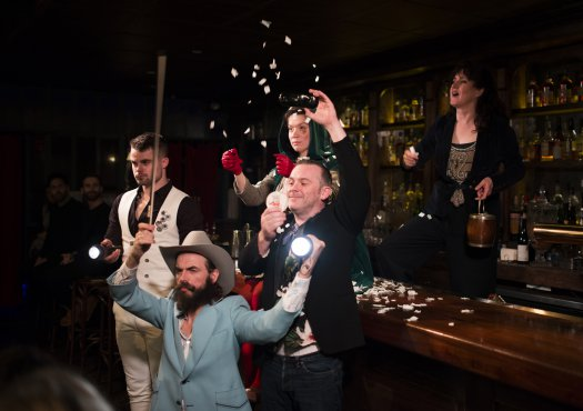 """Peter Hannah, Alasdair Macrae, Melody Grove, Paul McCole and Annie Grace in a scene from """"The Strange Undoing of Prudencia Hart"""" (Photo credit: Jenny Anderson)"""