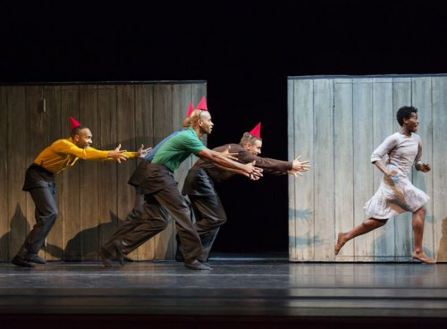 """A scene from Alvin Ailey American Dance Theater's production of Johan Inger's """"Walking Mad"""" (Photo credit: Paul Kolnik)"""