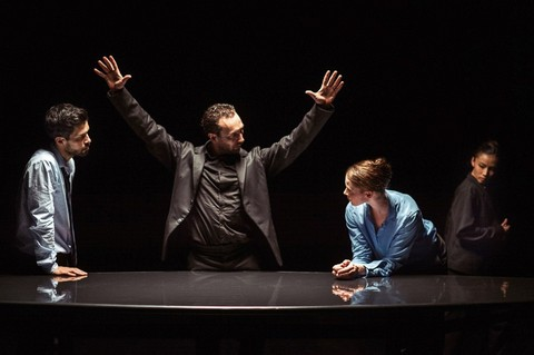 "César Faria Fernandes, Fernando Hernando Magadan, Imre van Opstal and Rena Narumi in a scene from Nederlands Dans Theater's ""The Statement"" (Photo credit: Rahi Rezvani)"