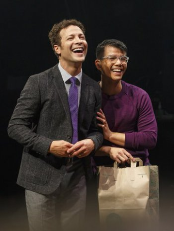 "Justin Guarini and Telly Leung in a scene from of ""In Transit"" (Photo credit: Joan Marcus)"
