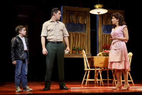 """Hudson Loverro, Robert H. Blake and Lucia Giannetta in a scene from """"A Bronx Tale"""" (Photo credit: Joan Marcus)"""