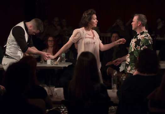 """Peter Hannah, Melody Grove and Pau McCole in a scene from """"The Strange Undoing of Prudencia Hart"""" (Photo credit: Jenny Anderson)"""