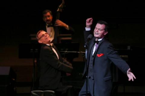 Music director Tom Nelson, bassist Tom Kirchmer and singer Richard Holbrook in performance (Photo credit: Maryann Lopinto)