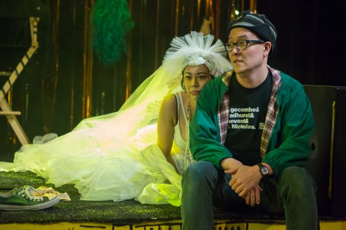 """Angel Desai and Matt Park in a scene from """"PEER GYNT & the Norwegian Hapa Band (Photo credit: Hunter Canning)"""