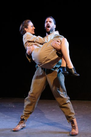 """Laura Osnes as Pallas Athene and Will Swenson as Jupiter in a scene from """"Blueprint Specials"""" (Photo credit: Ryan Jensen)"""