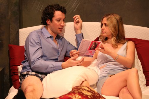 """Michael Hogan and Clea Alsip in a scene from Neil LaBute's """"What Happens in Vegas"""" (Photo credit: Carol Rosegg)"""