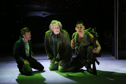 "Jess Barbagallo, Stephen Payne and Ruy Iskandar in a scene from ""Orange Julius"" (Photo credit: Sandra Coudert Graham)"