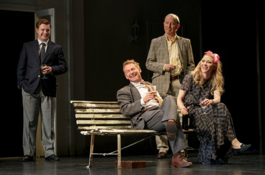 """Brandon McClelland, Richard Roxburgh, David Downer and Cate Blanchett in a scene from The Sydney Theatre Company's production of """"The Present"""" (Photo credit: Joan Marcus)"""