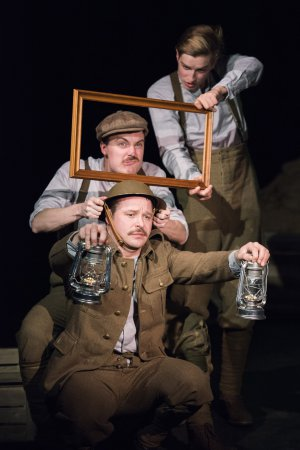 "Tom Lambert, Tom Machell and David Paisley in a scene from ""Life According to Saki"" (Photo credit: Monica Simoes)"