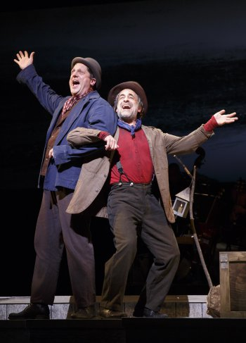 "Christopher Sieber and David Pittu in a scene from ""Big River: The Adventures of Huckleberry Finn"" (Photo credit: Joan Marcus)"