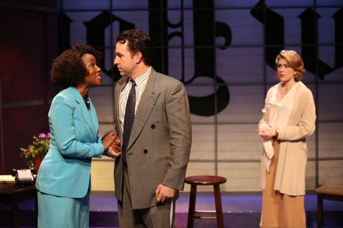 "JoAnna Rhinehart, John Patrick Hayden and Kate Loprest in a scene from ""The Big Broadcast on East 53RD"" (Photo credit: Carol Rosegg)"