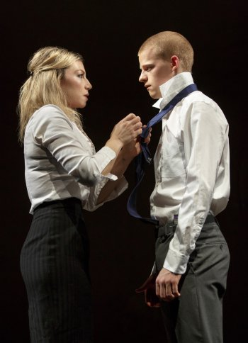 "Ari Graynor and Lucas Hedges in a scene from ""Yen"" (Photo credit: Joan Marcus)"