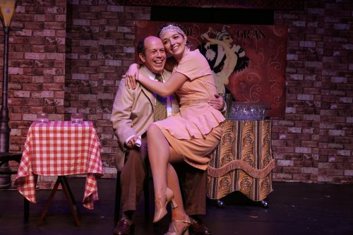 "Michael J. Farina as Senator Oliver P. Loganberry and Elisabeth Evans as Marina Van Linden in a scene from Irving Berlin's ""Louisiana Purchase"" (Photo credit: Tyler Milliron/Milliron Studios)"