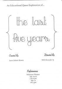 The Last Five Years -- program